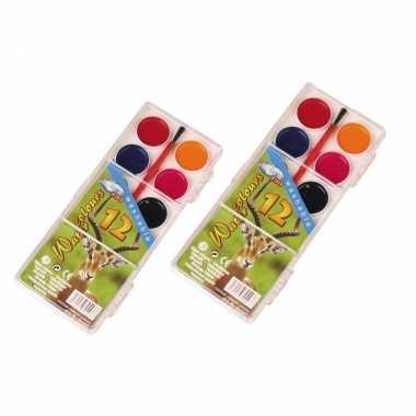 2x stuks schilderen waterverf set 12 kleuren kwastje
