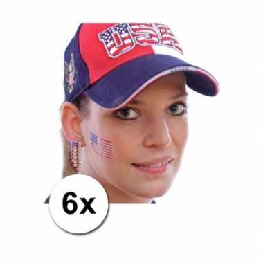 6 amerikaanse vlag tattoo stickers