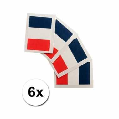 6 franse vlag tattoo stickers