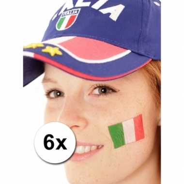 6 italiaanse vlag tattoo stickers