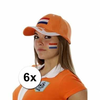 6 nederlandse vlag tattoo stickers