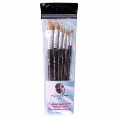 6 platte ronde schmink penselen set synthetisch