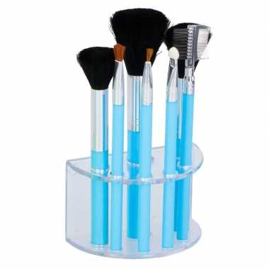 7 blauwe make up/schmink kwastjes houder