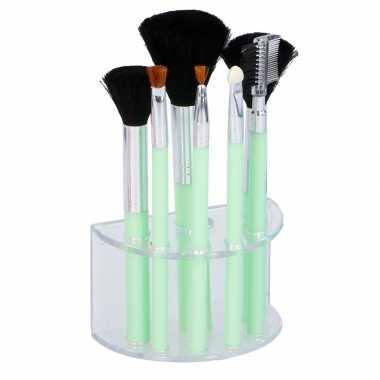 7 groene make up/schmink kwastjes houder