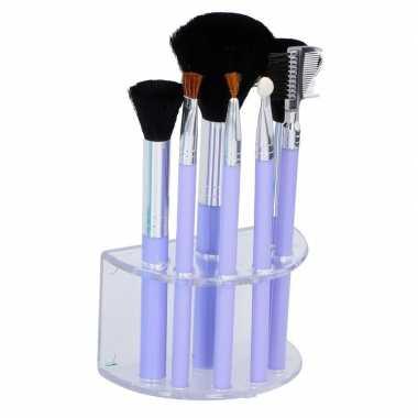 7 paarse make up/schmink kwastjes houder