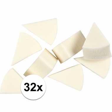 Driehoekige witte sponsjes 32 stuks
