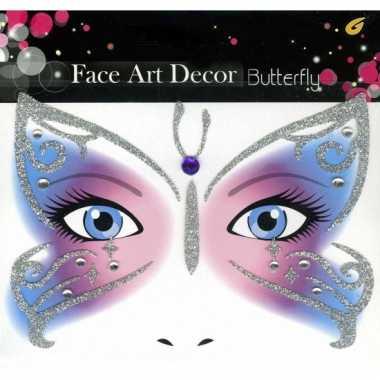 Glitter schmink sticker vlinder