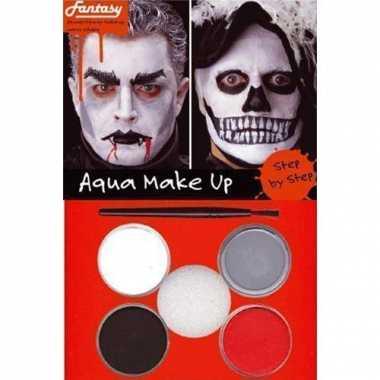 Halloween Schminkset rood/zwart/grijs/wit