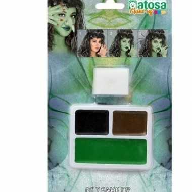 Horror schmink/make up set bruin/zwart/groen sponsje