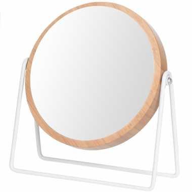 Houten schmink/grimeer spiegel rond dubbelzijdig 17 bij 21