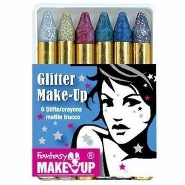 Metallic glitter schmink stiften 6 stuks