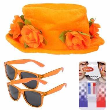 Oranje supporters verkleed set 2 personen