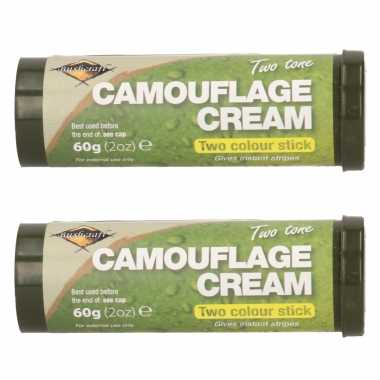Pakket 3x stuks bruine/groene camouflage creme/stift 60 gram