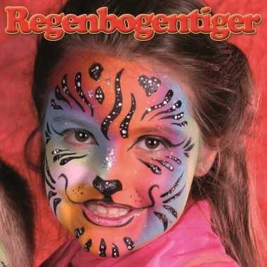 Regenboog tijger schminken schminkset 6 delig