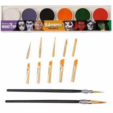 Schmink/grimeer palet 12 kleuren penselen kwastjes/sponsjes
