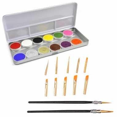 Schmink/grimeer palet 12 kleuren penselen kwastjes