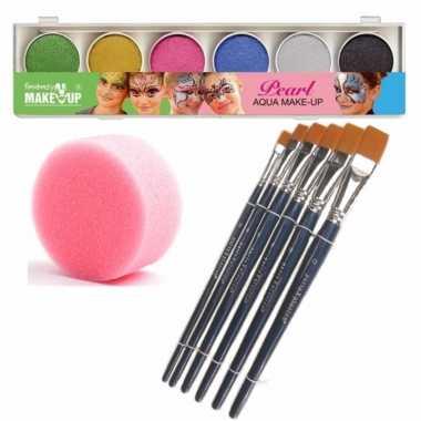 Schmink/grimeer palet 6 glitter kleuren penselen kwastjes/sponsjes