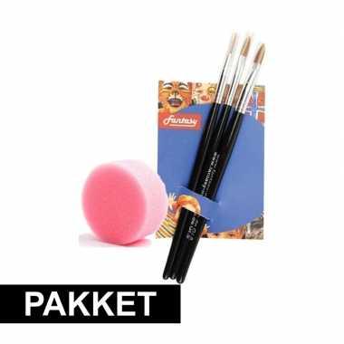 Schmink sponsje 3 schmink penselen