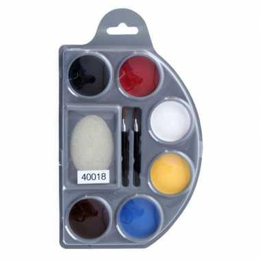 Schminkpalet 6 kleuren spons kwastjes