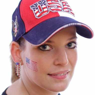 Set 4x stuks landen vlag tattoo amerika 2,6 bij 4,5