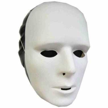 Set 4x stuks witte grimeer maskers plastic