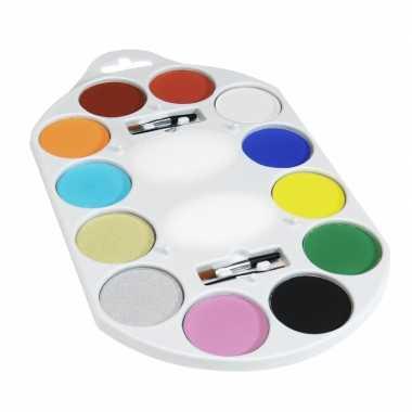 Waterbasis schmink palet 12 kleuren