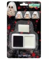 Horror schmink make up set zwart wit sponsje