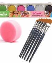 Schmink grimeer palet 6 glitter kleuren penselen kwastjes sponsjes